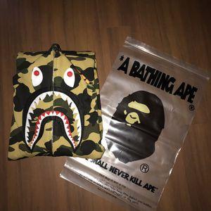 Bape A Bathing Ape Yellow 1st Camo Full Zip Shark Hoodie, Sz XL for Sale in Boston, MA