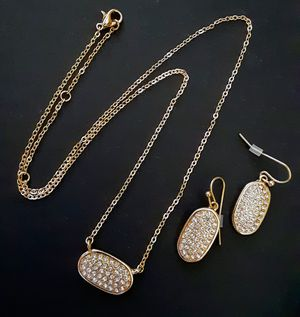 New goldtone link crystal necklace & crystal dangle earrings for Sale in Fullerton, CA