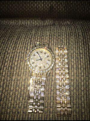 Gold diamond Watch and Bracelet (PICKUPONLY) for Sale in Philadelphia, PA