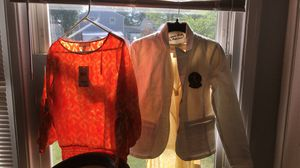 Fiery orange Michael kors medium size shirt // white medium size Lauren jeans co. Jacket for Sale in Oxon Hill, MD