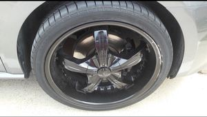 Black 20 inch rims and tires for Sale in Dallas, TX