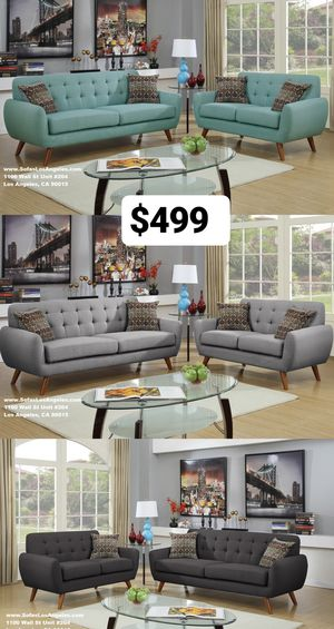 Real Showroom 😁 We Finance - Mid Century Style Couch Sofa and Loveseat 2pcs for Sale in Los Angeles, CA
