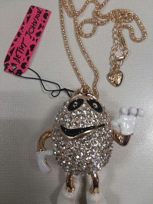 Beautiful M&M Crystals Pendant Necklace with Movable Legs on a Long Gold Color Chain by Betsey Johnson. for Sale in The Bronx, NY