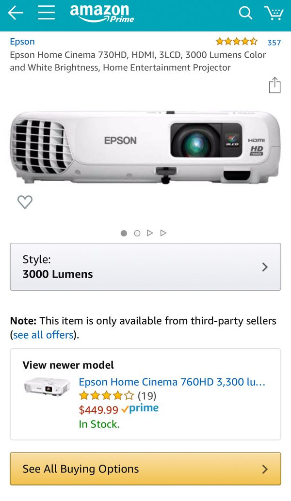 Epson Home Cinema 730HD, Projector