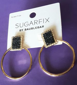Shipping Only: New Sugarfix nickel-free goldtone black sparkle and crystal post hoop earrings for Sale in Fullerton, CA