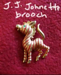 Vintage J. J. Johnette zebra brooch for Sale in League City,  TX