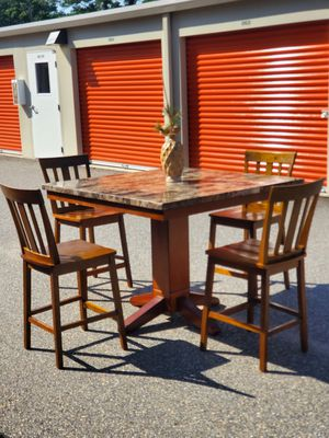 GORGEOUS, Wood, Leather & Glass, Bar Height, Dining/Kitchen Table & Bar Chair Set for Sale in Hampton, VA