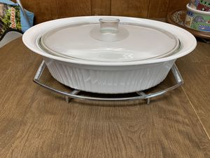 Vintage Pyrex/CorningWare Oval Casserole w/ lid and chrome trivia for Sale in Melrose, MA
