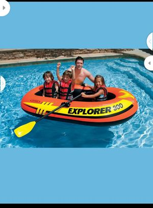 Intex Explorer 300 Compact Inflatable Fishing 3 Person Raft Boat w Pump & Oars for Sale in Turlock, CA