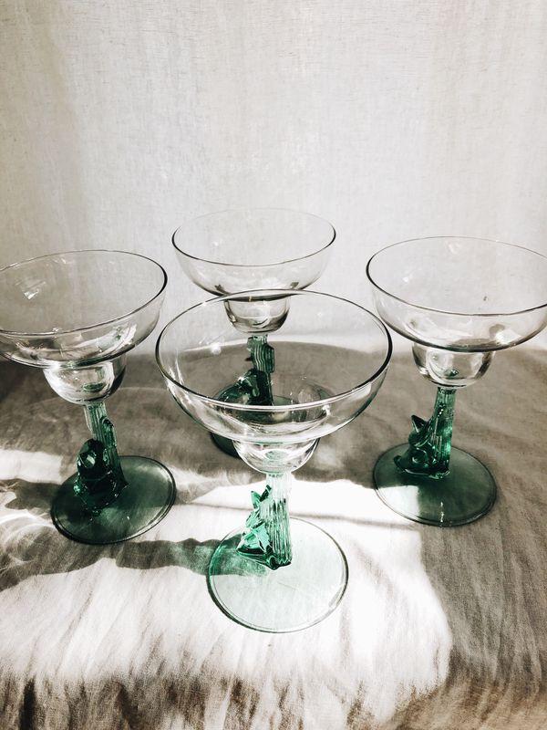Set of 4 Cactus Siesta Man Margarita Glasses
