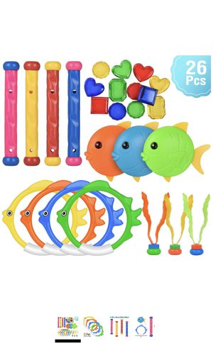 Pool Toys for Kids, Toddler Pool Games with Toy Fish Rings (4 Pcs), Diving Sticks (4 Pcs), Toy Fish (3 Pcs), Pool Toy Plants (3 Pcs) & Pool Gems (12 for Sale in Boston, MA