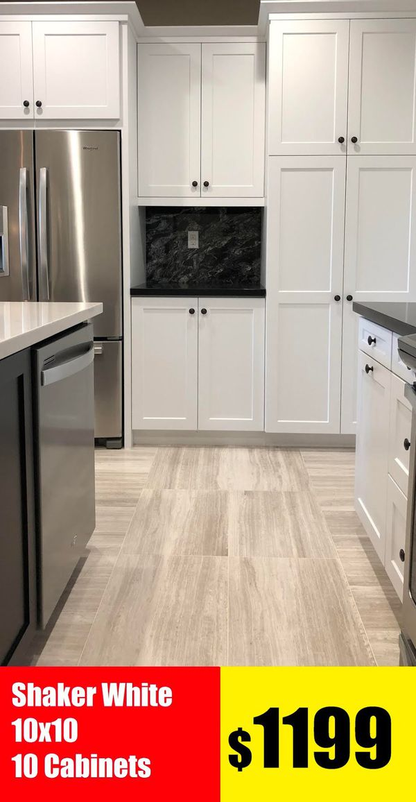 White Shaker White Kitchen Cabinet 10x10 total 10 Cabinets only 1199