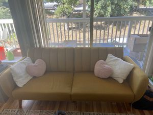 Mid-Century Modern Couch Futon Sofa Loveseat Yellow Mustard for Sale in San Carlos, CA