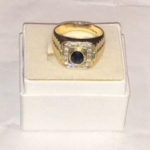 14k Sapphire Men's diamond ring size 9-10 for Sale in Meriden, CT