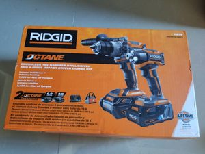Ridgid 18-Volt OCTANE Combo Kit with Hammer Drill, Impact Driver, 2 OCTANE Batteries 3.0 and 6.0, Charger and Tool Bag for Sale in City of Industry, CA