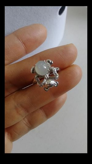 (13) adjustable size rat zodiac silver 925 genuine green icy jade jadeiat ring for Sale in Richmond, CA