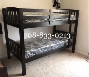 Brand New Black Twin Bunk Bed with Basic Mattresses for Sale in Chicago, IL