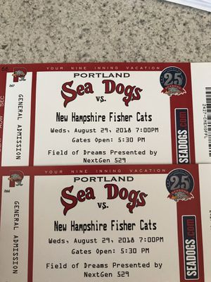 Seadogs 8/29 vs NH for Sale in South Portland, ME
