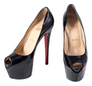 Christian Louboutin Black Highness Patent Leather Platform 160 High Heel Red Bottom Sole Prep Toe Pumps 39 for Sale in Denver, CO