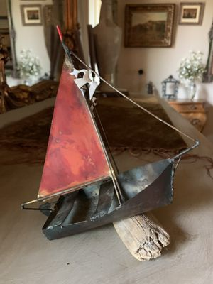 Vintage metal sail boat on drift wood for Sale in Portland, OR