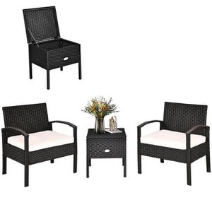 3 pcs Outdoor Patio Rattan Furniture Set with Cushion - HW63757 for Sale in City of Industry, CA