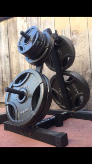 NICE OLYMPIC GRIP WEIGHTS SET PLUS BARS for Sale in San Diego, CA