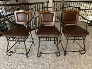 For all 3 stools $100. Weir's Furniture Countertop stools. Stool height 39 inches. Seat height to ground 23 inches. One seat cushion missing screws. for Sale in Frisco, TX