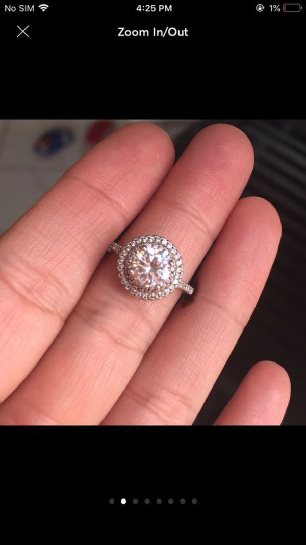 18k gold plated lab created diamond ring size 6