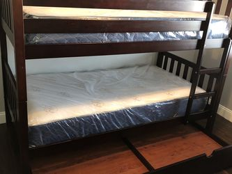 Twin over twin size bunk bed frame with the mattresses new in the box and free shipping for Sale in Hialeah,  FL