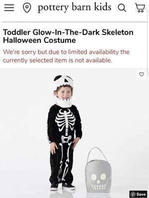 Pottery Barn Kids 2T Skeleton Costume for Sale in Gilbertsville, PA