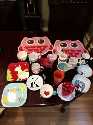 Huge lot of bowls plates mugs kitchenware Anthropologie Target Halloween Christmas Owl decor coffee tea for Sale in Hartford, CT