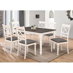 7PC White Dining Room Set in Buttermilk Color with Antique Gray Top for Sale in East Los Angeles,  CA