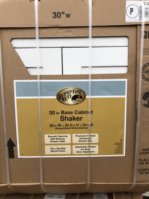 Shaker Assembled 30x34.5x24 in. Base Kitchen Cabinet with Ball-Bearing Drawer Glides in Satin White for Sale in Wylie, TX