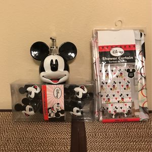 Disney 3 Piece Bathroom Set W/Shower Curtain, Shower Curtain Hooks 12 Piece, And Mickey Head Soap Dispenser for Sale in Clermont, FL