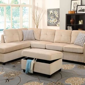 Brooklyn Collection Sectional Sofa w/Pillows (Reversible)ottoman included-available in 3 colors $1,149.00! Hit Buy! Limited Time Offer! Free Delivery for Sale in Chino, CA