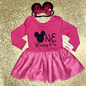 Minnie Mouse Dress & Sequin Bow Headband Ears 12-18 Months for Sale in Long Beach, CA