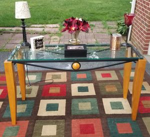 Modern Etched Glass, Black Metal, And Light Wood Entry/ Sofa Table for Sale in Cranberry Township, PA