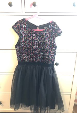 Colorful sequin w/black tulle girls dress, size L (12) for Sale in Milpitas, CA