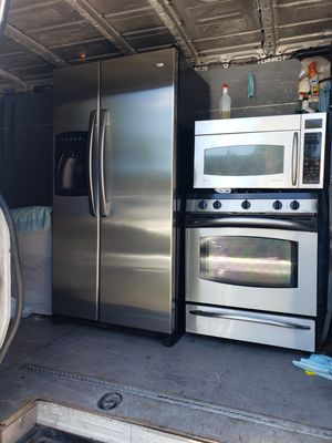 fridge side 36 coutnterdeth..stove side 30 five burner with broil..microwave side 30 ..use great condition all 3 item..899 ready to deliver.. for Sale in The Bronx, NY