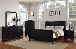 4pc. Bedroom set queen/twin/king black/cherry/white for Sale in Yuma, AZ