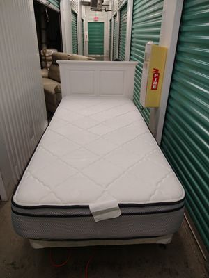 New White Twin Headboard with Mattress and Box Spring for Sale in Tamarac, FL