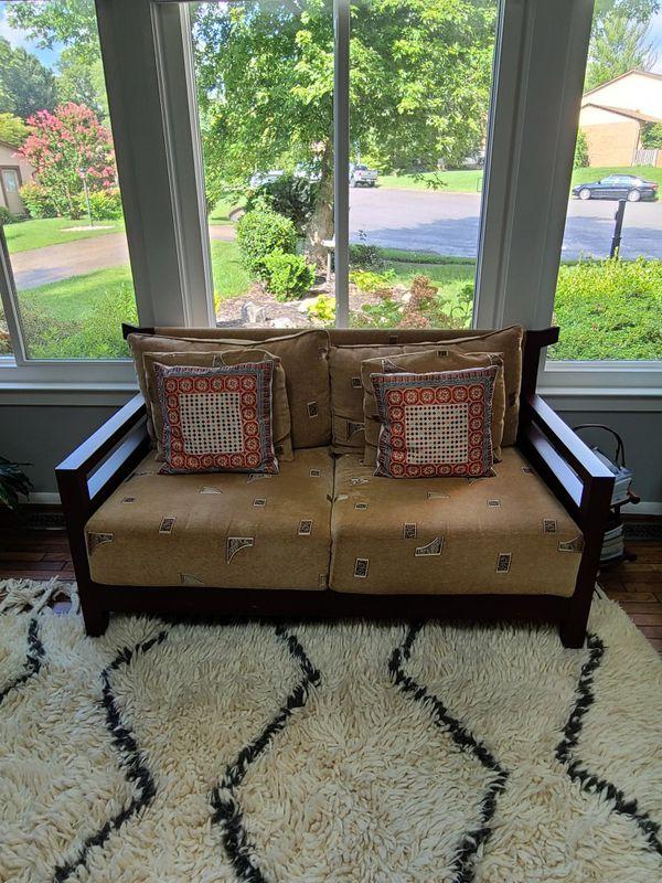 Modern teak wood Asian sofa set for sale!! 600 for set!!