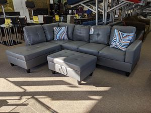 3pc, Dark Grey bonded sectional for Sale in Berwyn Heights, MD