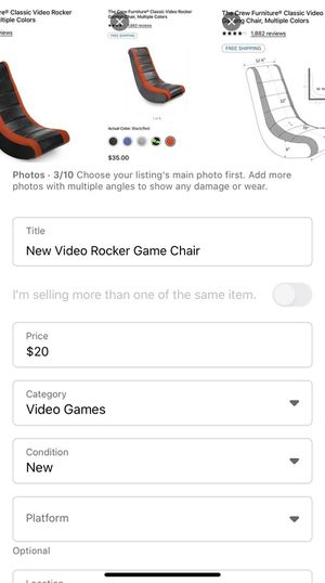 New video rocker game chair for Sale in Kingsport, TN