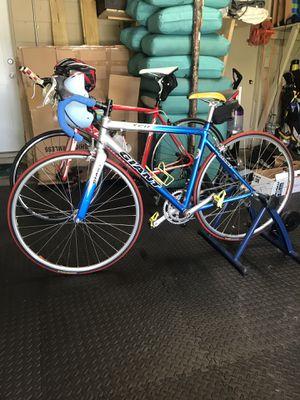 GIANT Road Bike Triathlon Size 54, indoor trainer, clips, helmet & car bike rack for Sale in Orlando, FL