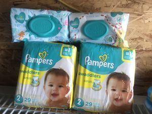 Size 2 Pampers and 2 wipes for Sale in Los Angeles, CA