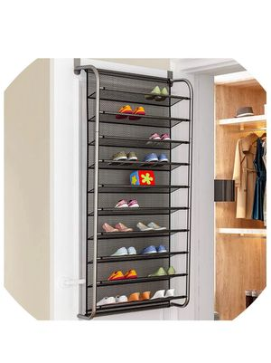 TaeHyung 10 Layer Door Rear Shoe Rack Simple Wall Mounted Shoe Cabinet Breathable Type Mesh Storage Shelves Living Room Furniture,Xj7810-Black for Sale in Bakersfield, CA