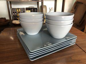 West Elm Large Blue Dinner Plates(5) And (6) Deep Soup Bowls for Sale in Punta Gorda, FL