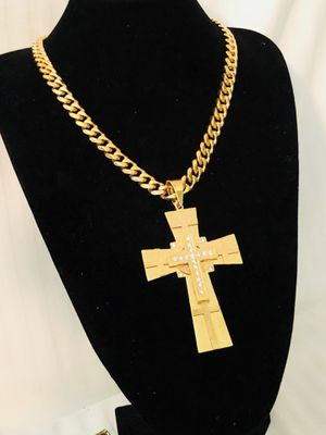 "24"" Cuban link chain necklace gold stainless steel - cross charm cubic zirconia jewels for Sale in Orlando, FL"