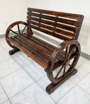"""New $100 Large 50"""" Wooden Wagon Bench Rustic Wheel for Patio Garden Outdoor 50x23x34"""" for Sale in South El Monte, CA"""